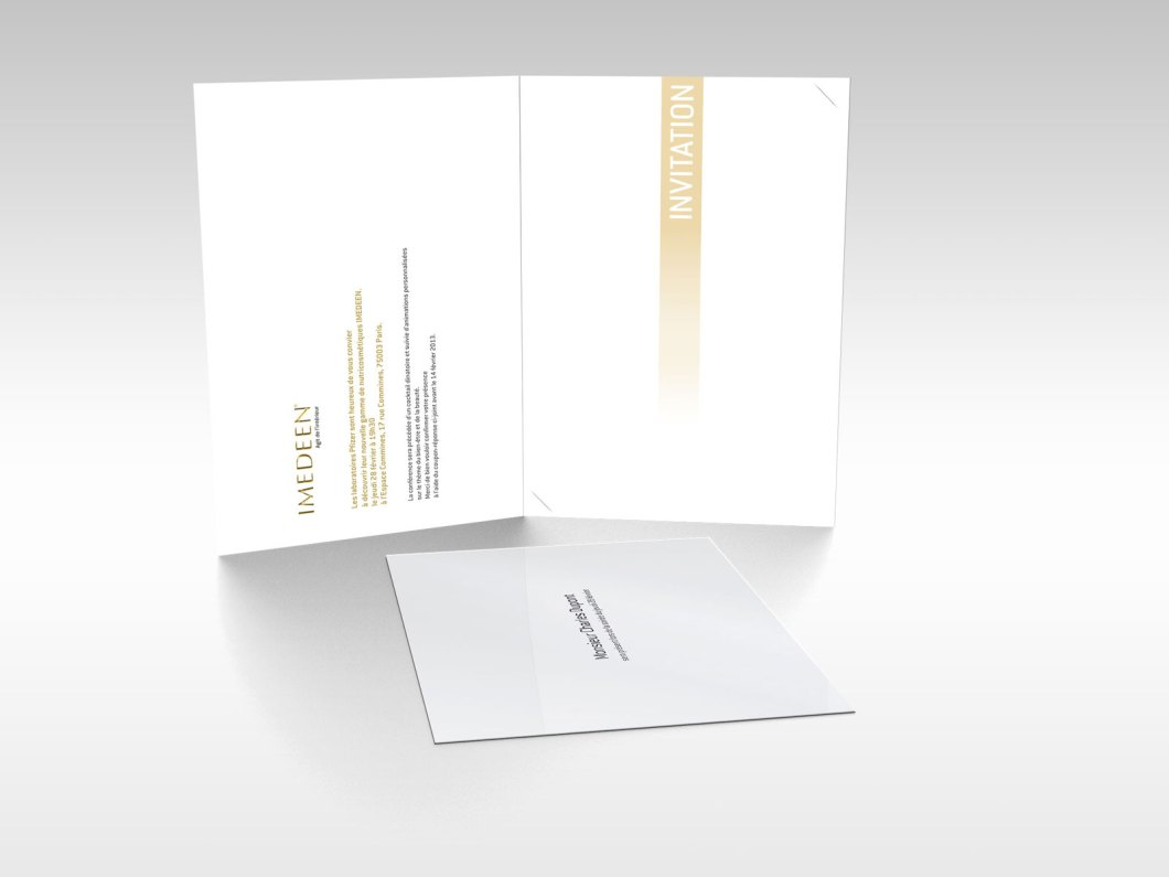 Carte et format intérieur pour le lancement d'Imedeen de chez Pfizer