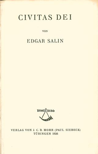 Edgar Salin - Civitas Dei