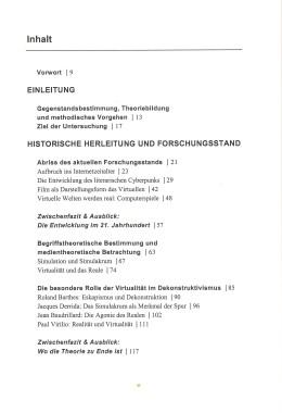 Simulation und virtuelle Welten – Inhaltsverzeichnis Seite 1