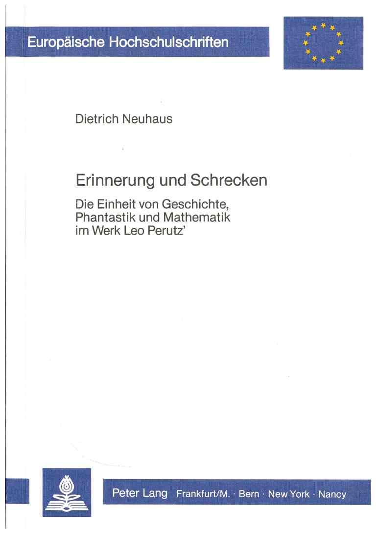 Erinnerung und Schrecken - Titelcover