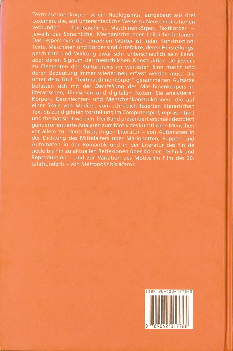 Textmaschinenkörper - Rückencover