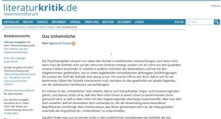 """Essay """"Das Unheimliche"""" von Sigmund Freud"""