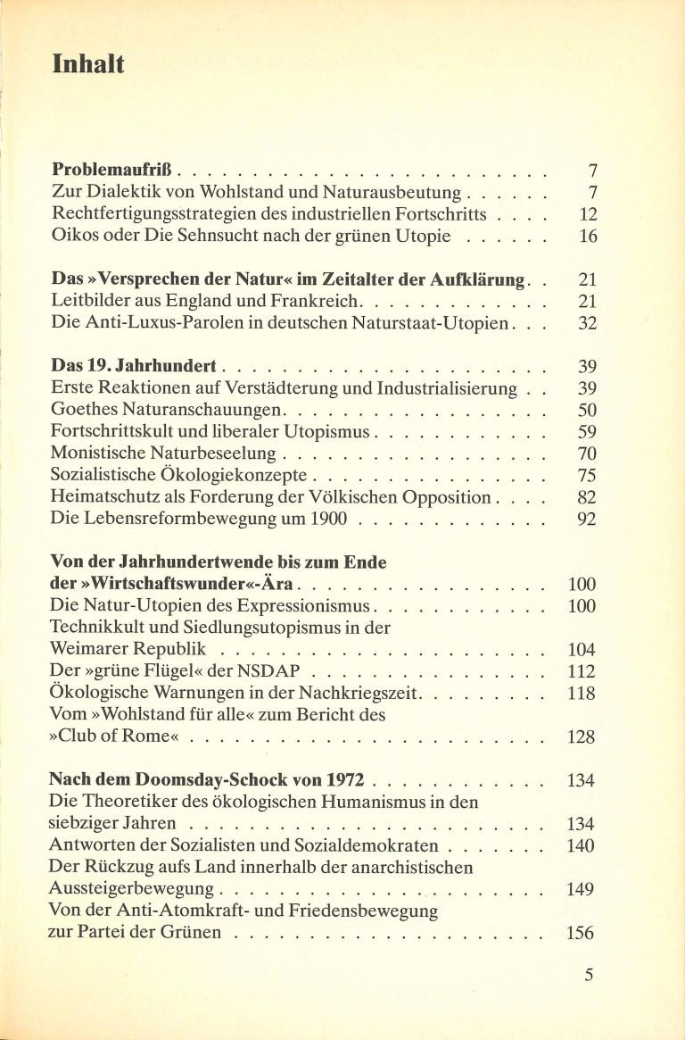 Grüne Utopien in Deutschland - Inhalt Seite 1