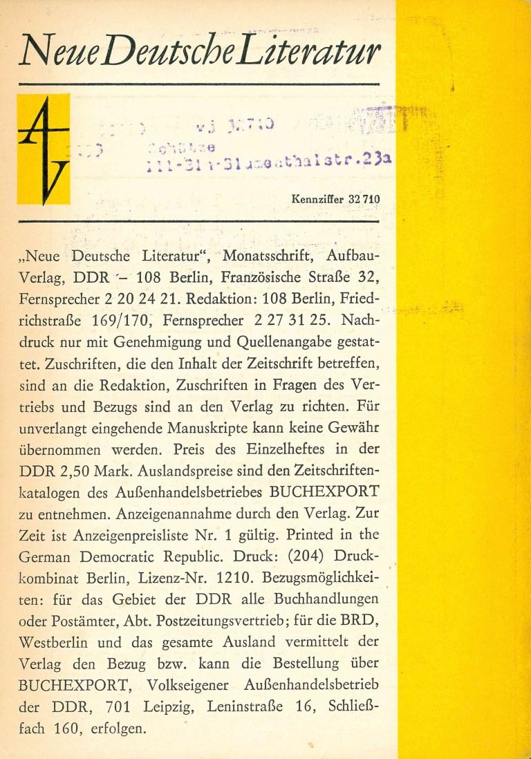 Neue deutsche Literatur - 1976/12 - Rückencover