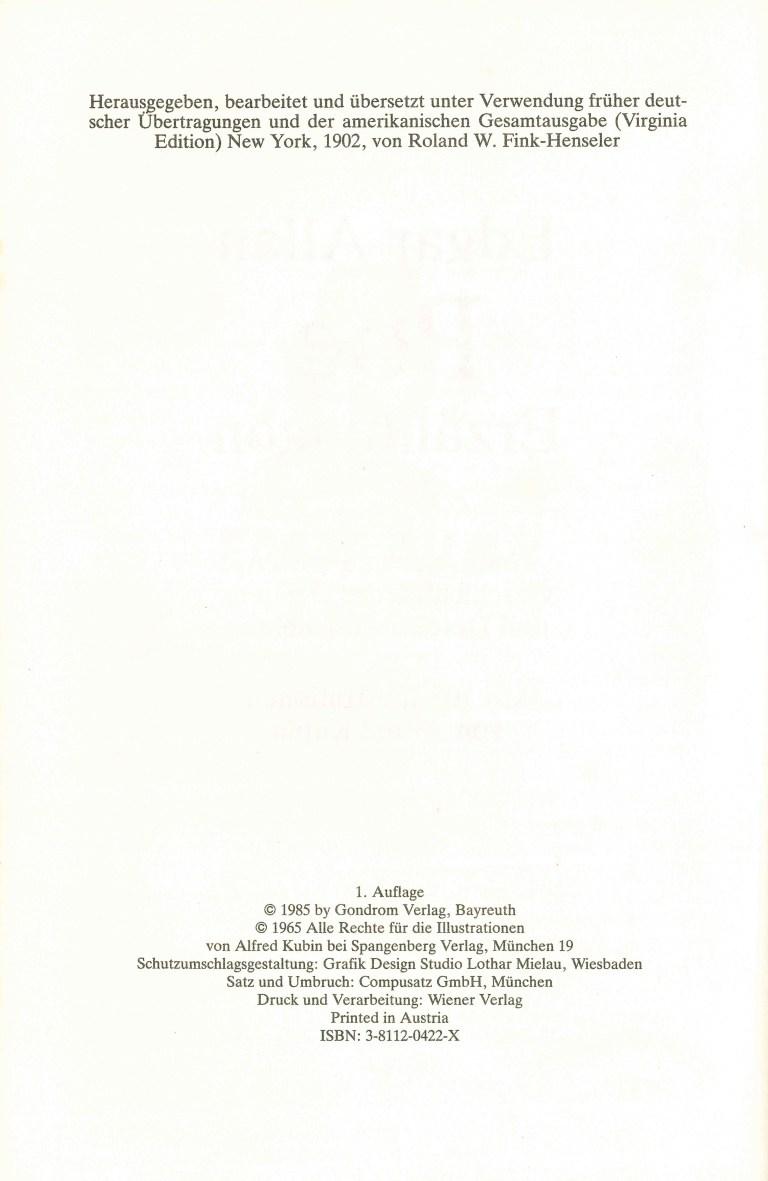 A. E. Poe - Erzählungen - Impressum