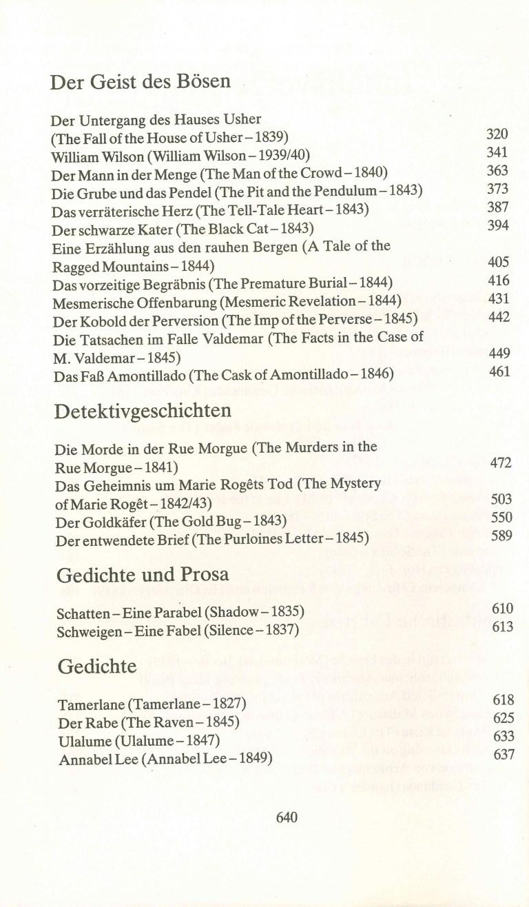 A. E. Poe - Erzählungen - Inhalt Seite 2