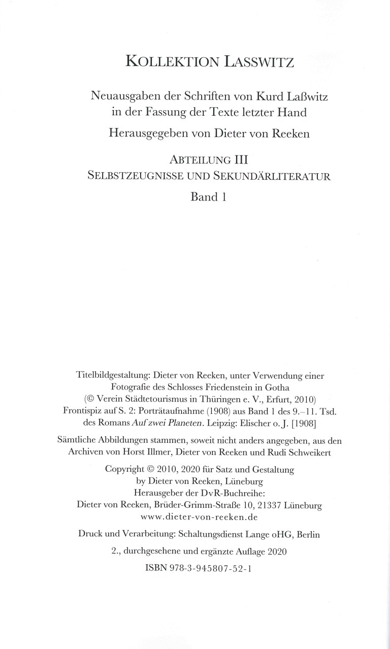 Kurd Laßwitz, Biblographie 1868-2019 - Impressum