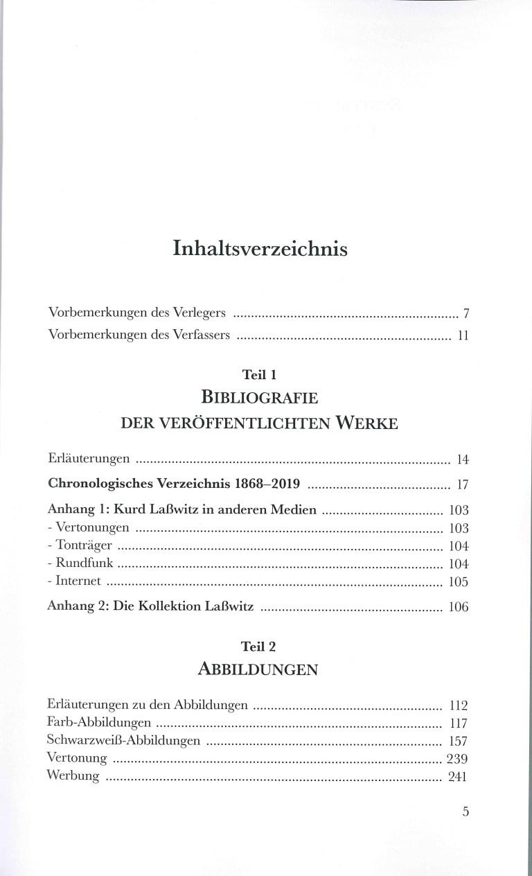 Kurd Laßwitz, Biblographie 1868-2019 - Inhalt Seite 1