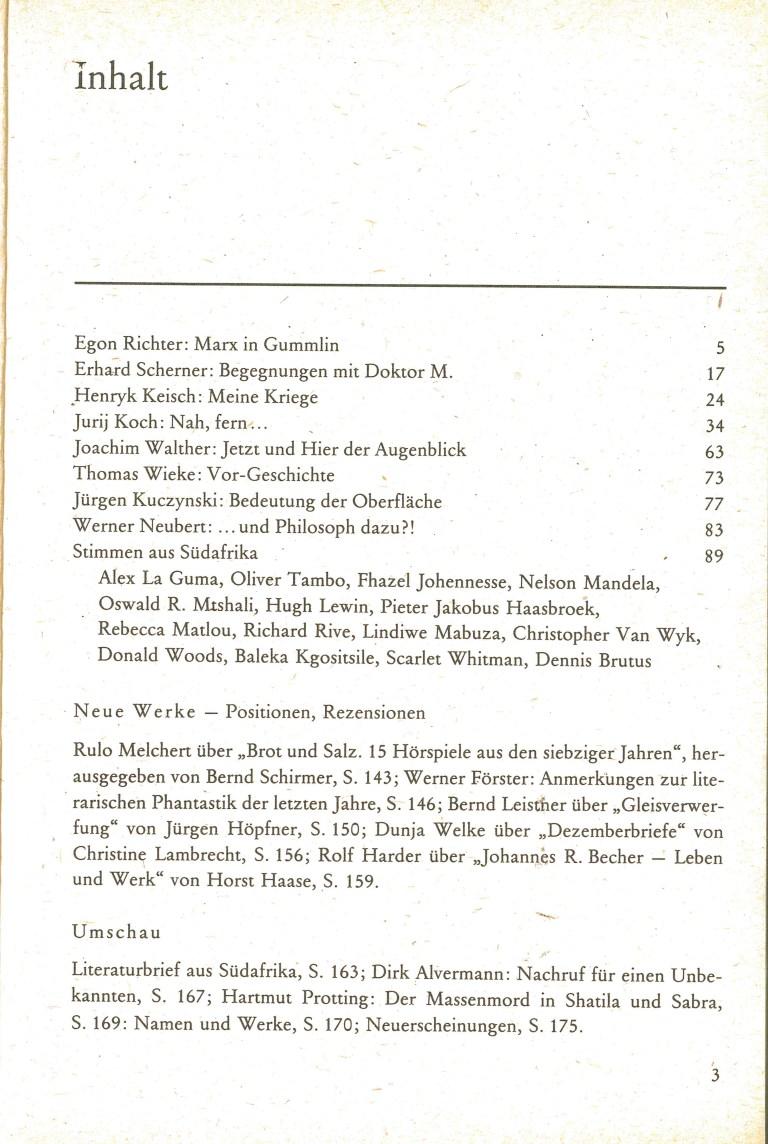 Neue deutsche Literatur, 2/83 - Inhalt