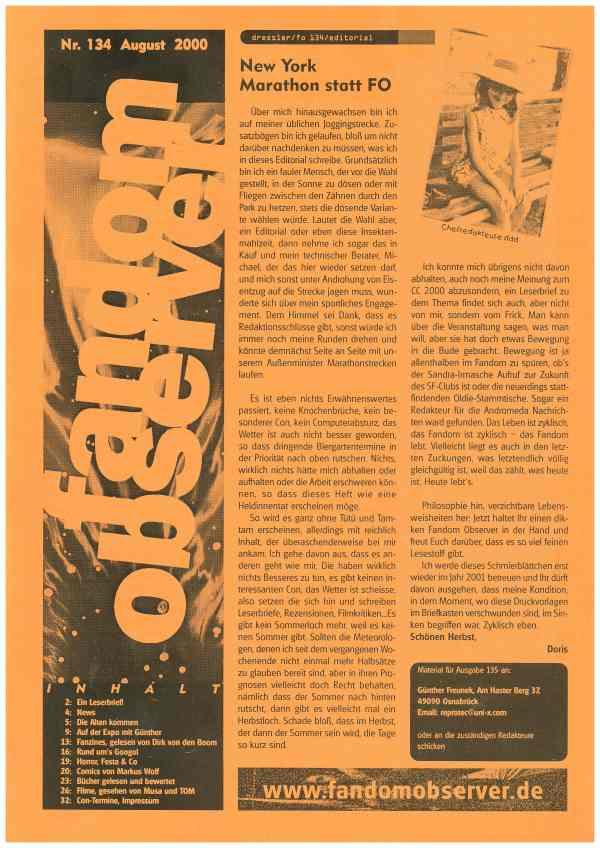 Fandom Observer, Nr. 134, August 2000 - Titelcover und Inhalt
