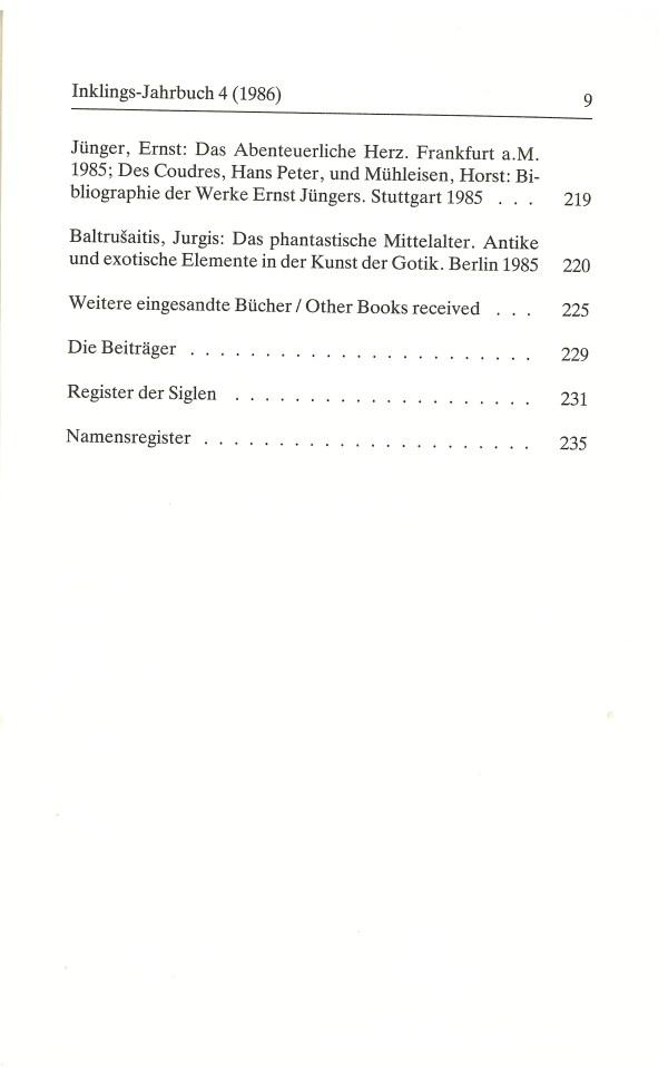 Inklings-Jahrbuch, Band 4 - Inhalt Seite 5