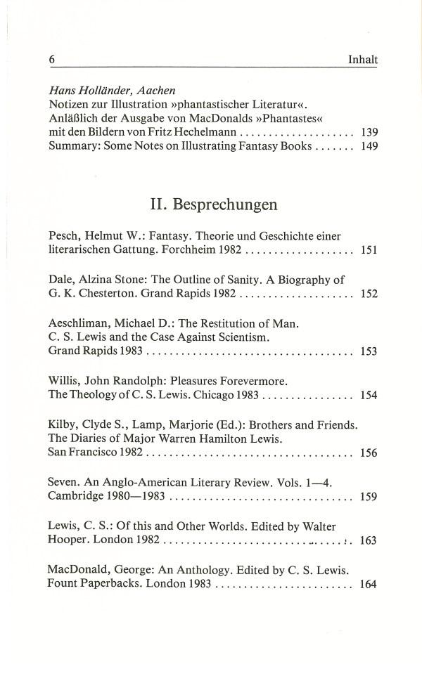 Inklings-Jahrbuch, Band 1 - Inhalt Seite 2