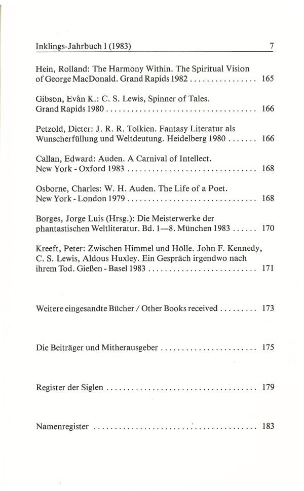 Inklings-Jahrbuch, Band 1 - Inhalt Seite 3