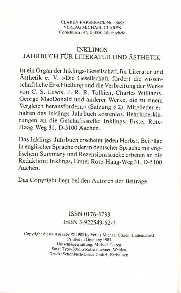 Inklings-Jahrbuch, Band 3 - Impressum