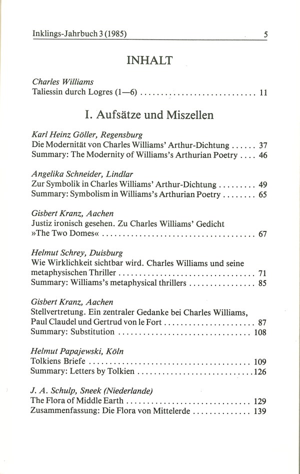 Inklings-Jahrbuch, Band 3 - Inhalt Seite 1