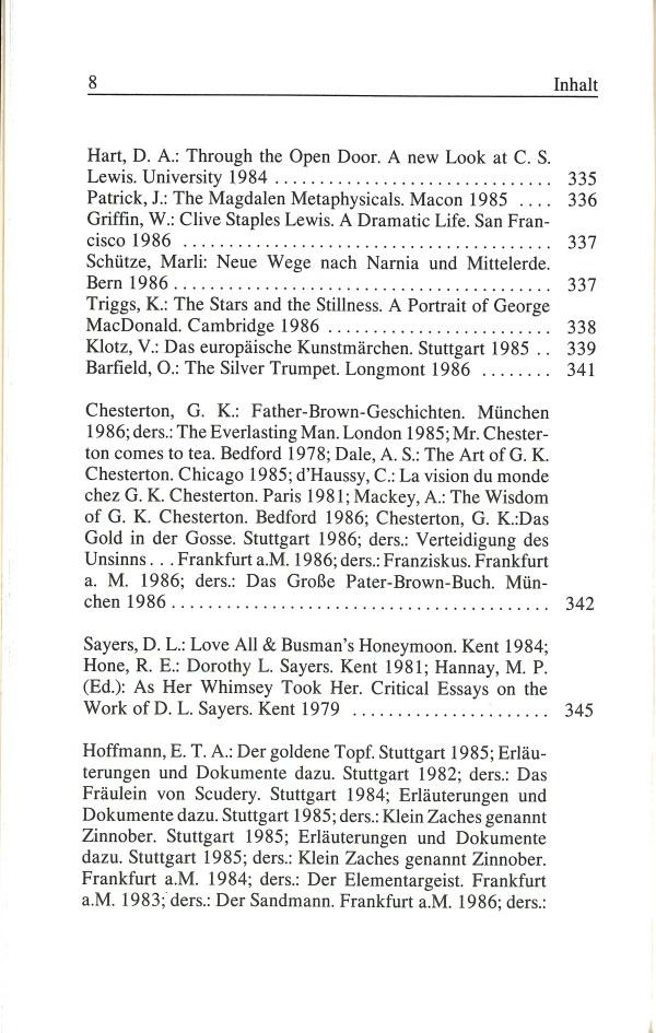 Inklings-Jahrbuch, Band 5 - Inhalt Seite 4