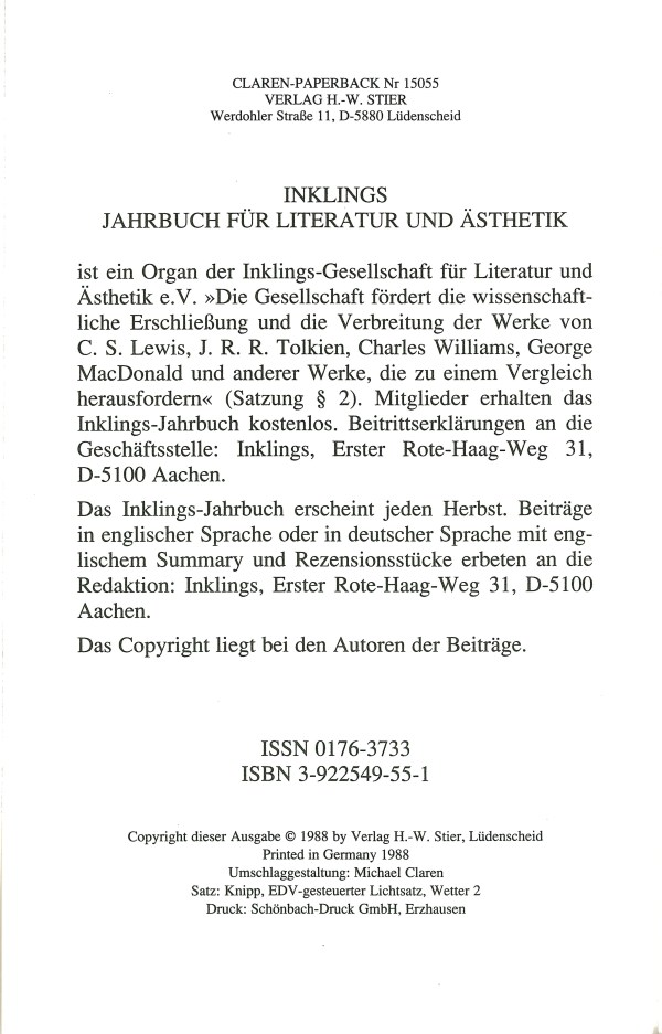Inklings-Jahrbuch, Band 6 - Impressum