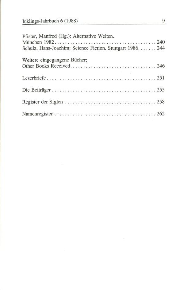 Inklings-Jahrbuch, Band 6 - Inhalt Seite 5