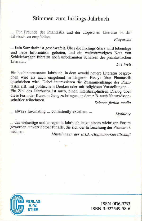 Inklings-Jahrbuch, Band 9 - Impressum
