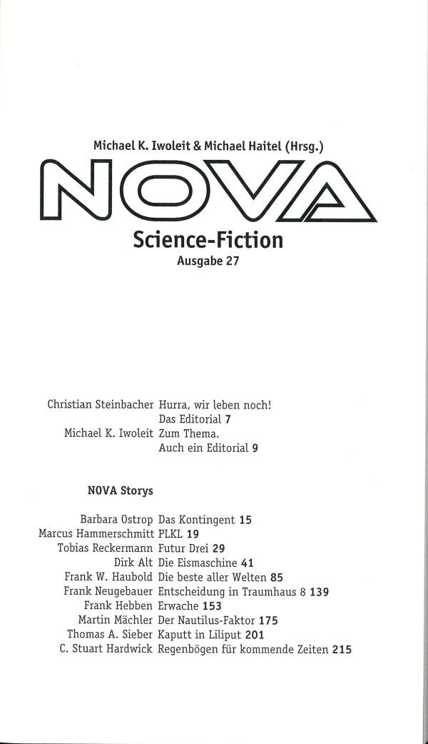 Nova, Nr. 27 - Inhalt Seite 1