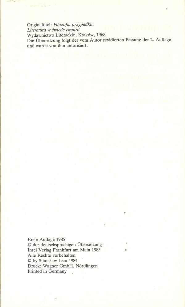 Philosophie des Zufalls, Band 2 - Impressum