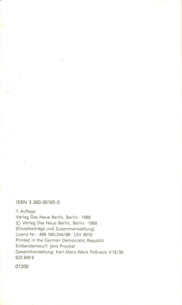 Die Science-fiction der DDR. Autoren und Werke - Impressum