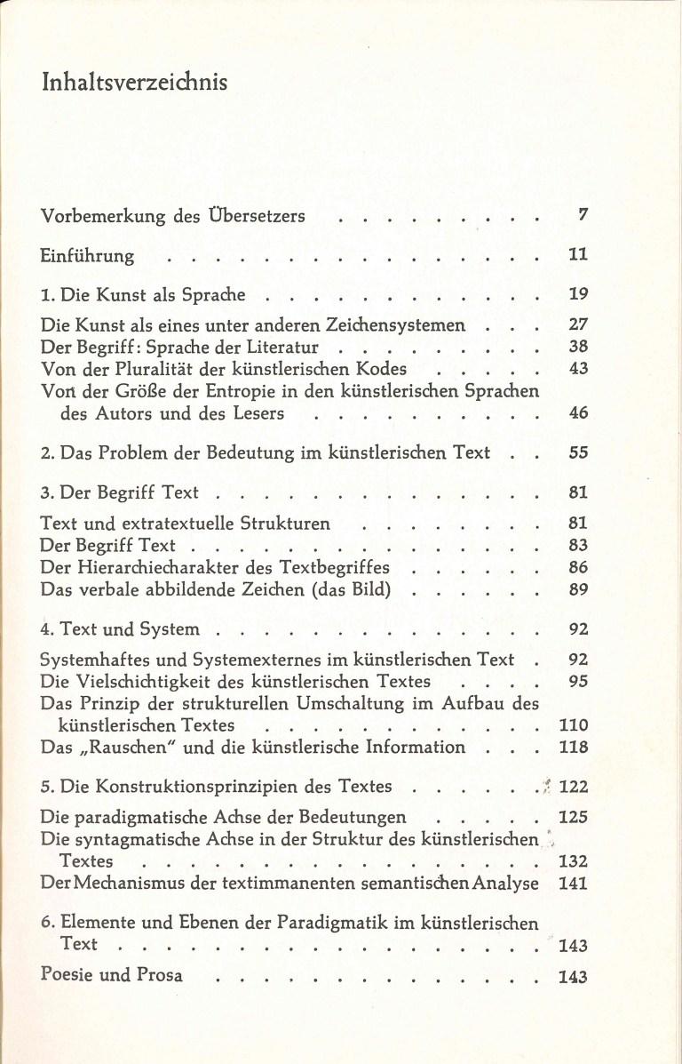 Die Struktur literarischer Texte - Inhalt Seite 1