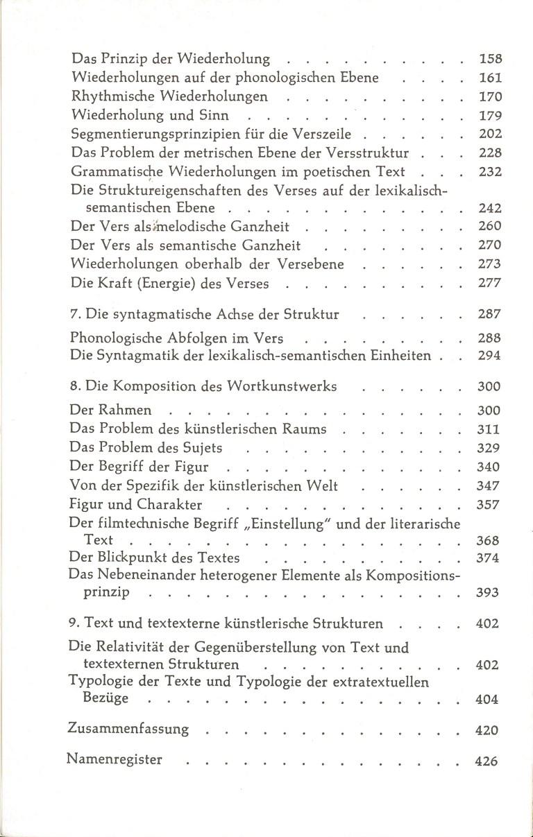 Die Struktur literarischer Texte - Inhalt Seite 2