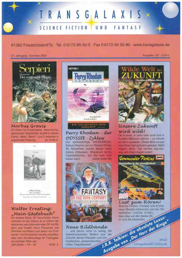 Transgalaxis, Nr. 137, Sommer 2003 - Titelcover
