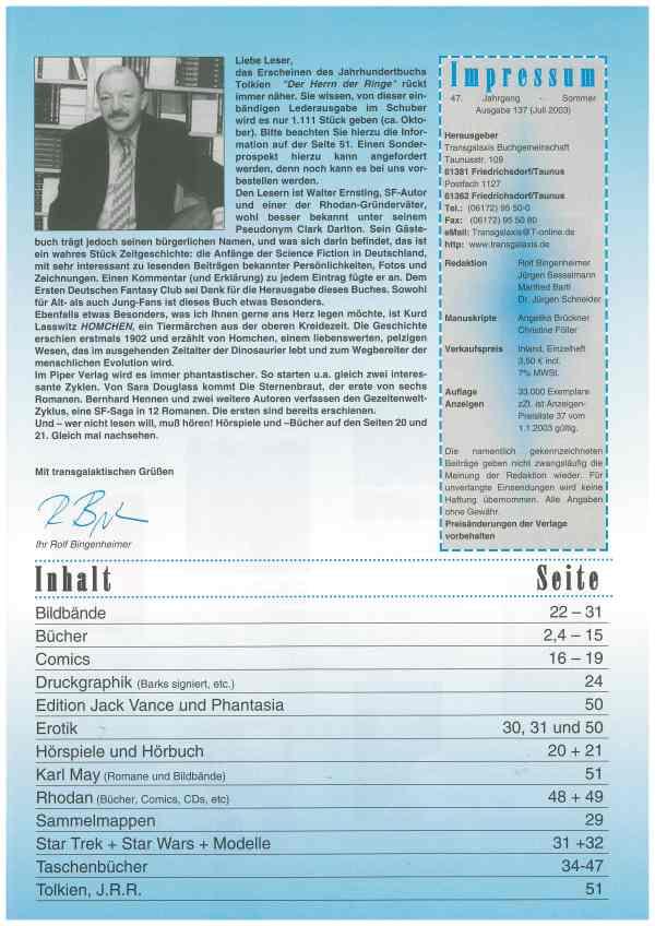 Transgalaxis, Nr. 137, Sommer 2003 - Impressum und Inhalt
