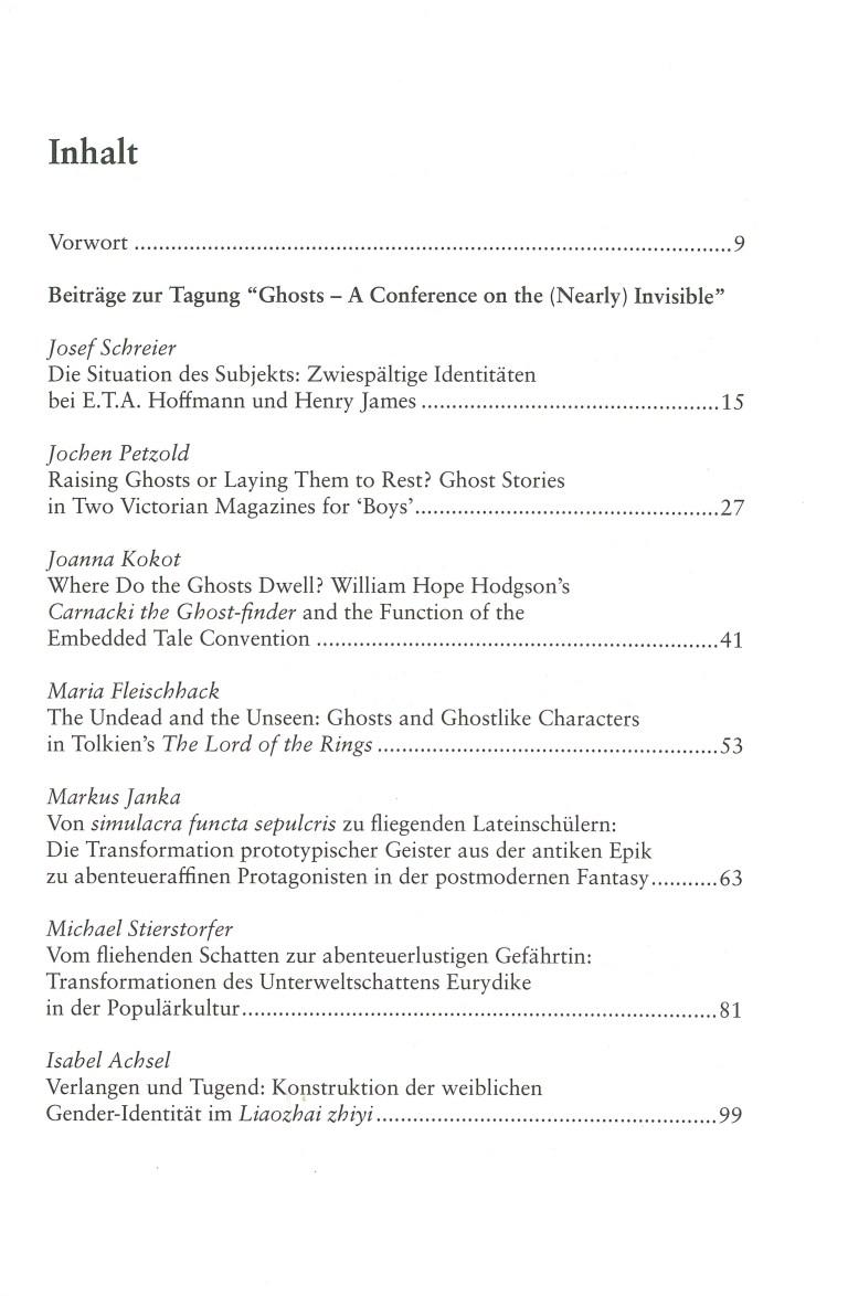 Inklings-Jahrbuch, Band 33 - Inhalt Seite 1