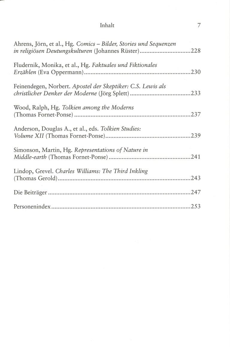 Inklings-Jahrbuch, Band 34 - Inhalt Seite 3