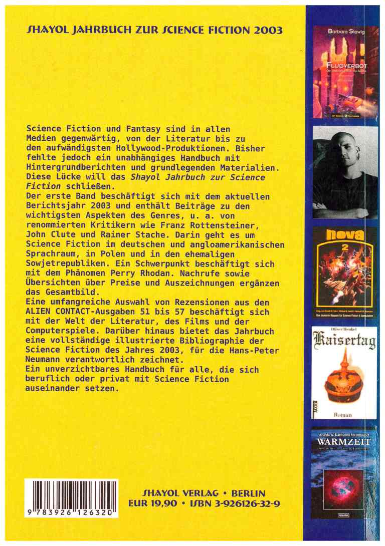 Shayol Jahrbuch zur Science Fiction 2003 - Rückencover