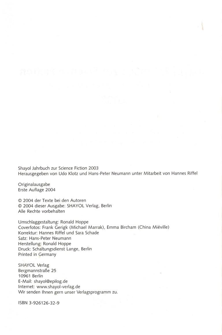 Shayol Jahrbuch zur Science Fiction 2003 - Impressum