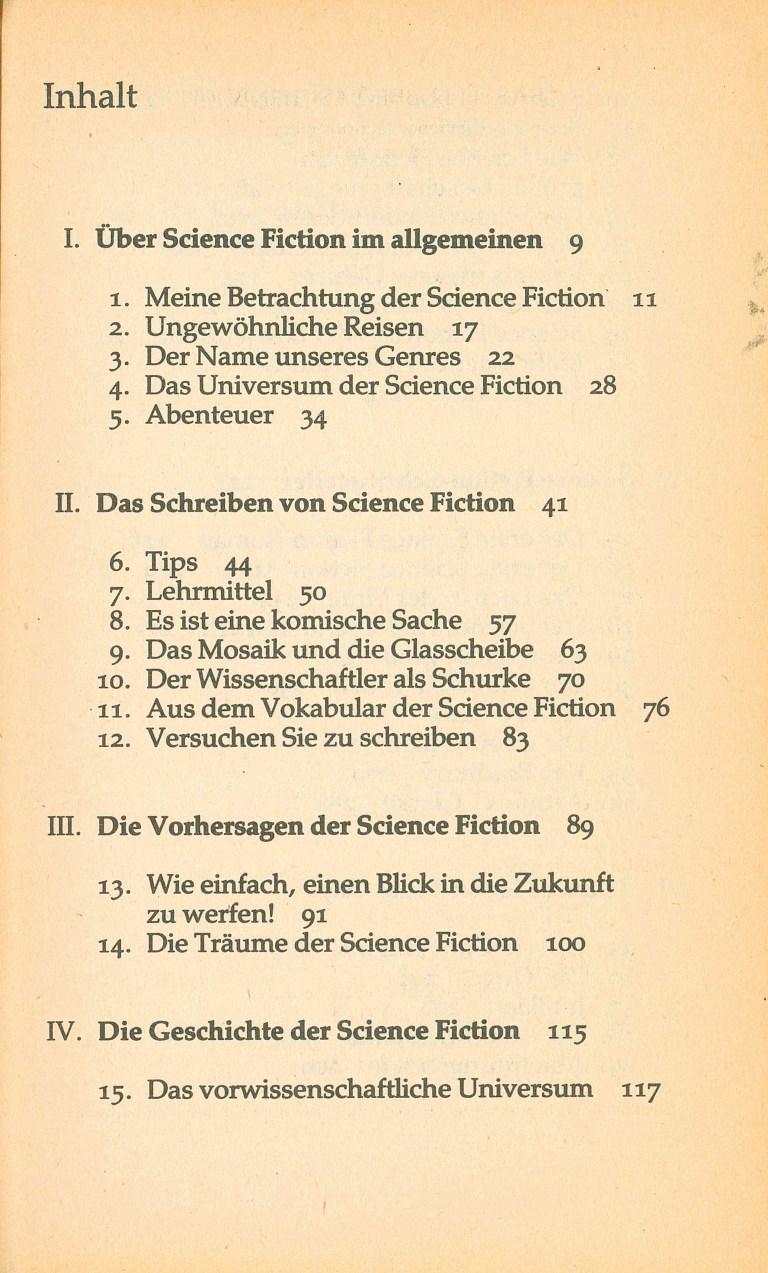 Isaac Asimov über Science Fiction - Inhalt Seite 1