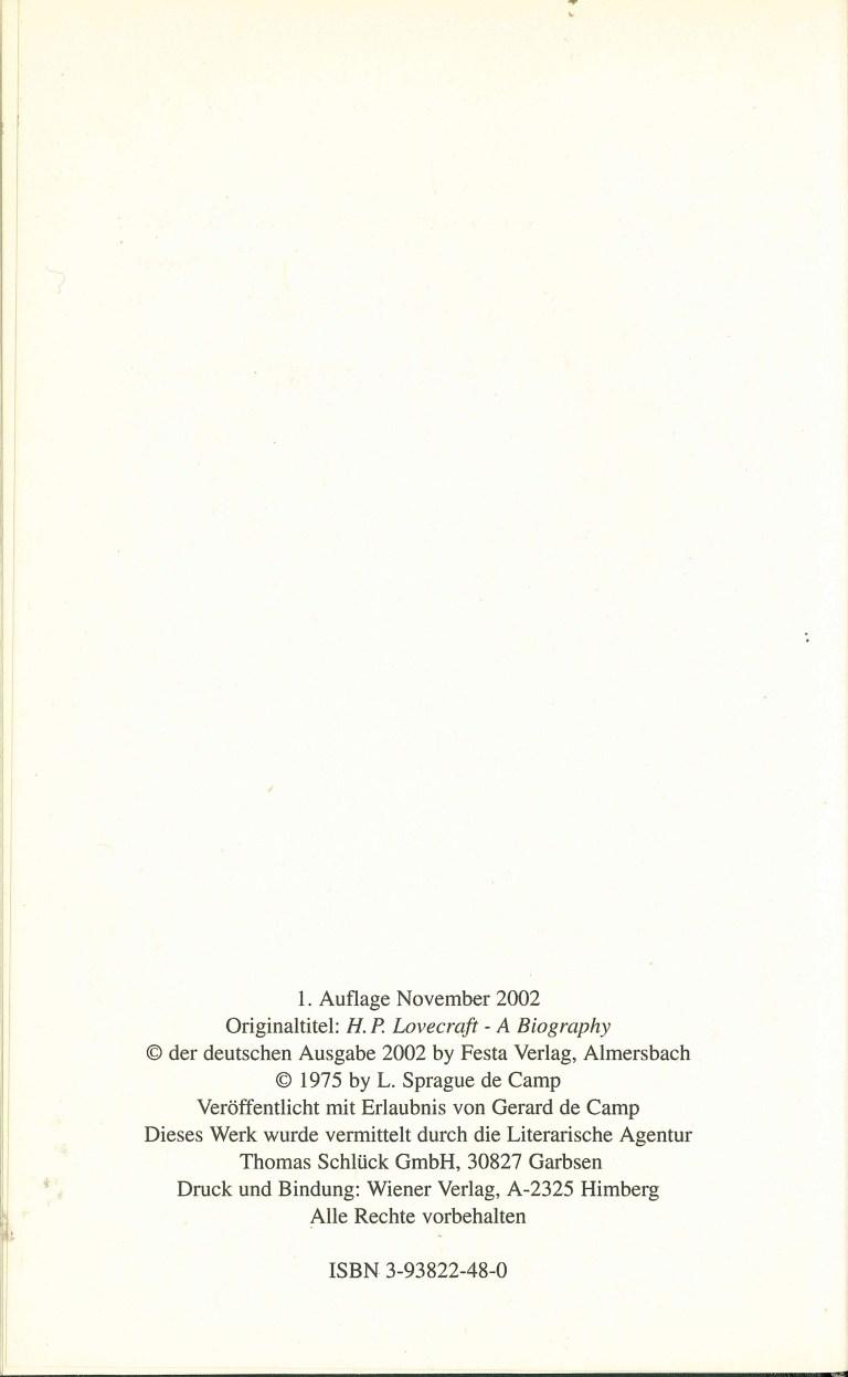 Lovecraft eine Biographie Festa - Impressum