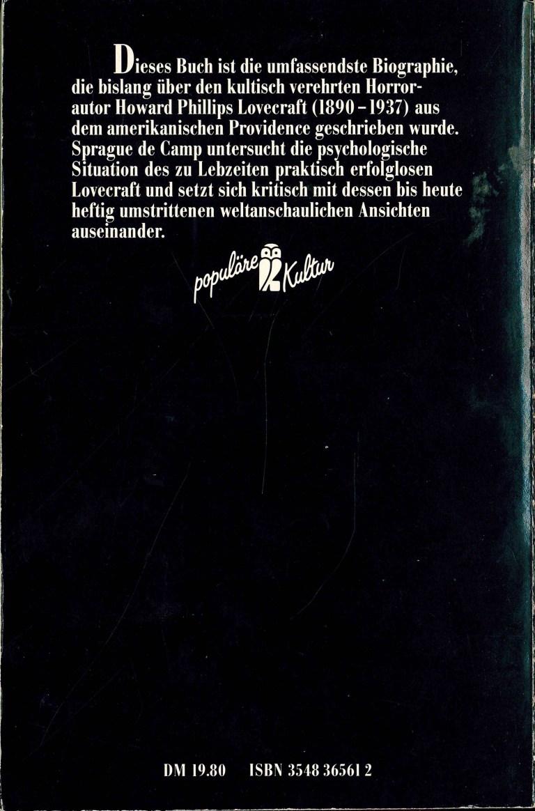 Lovecraft, eine Biographie - Rückencover