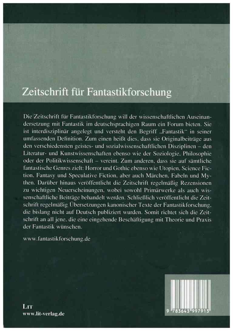 Zeitschrift für Fantastikforschung, 2/2016 - Rückecover