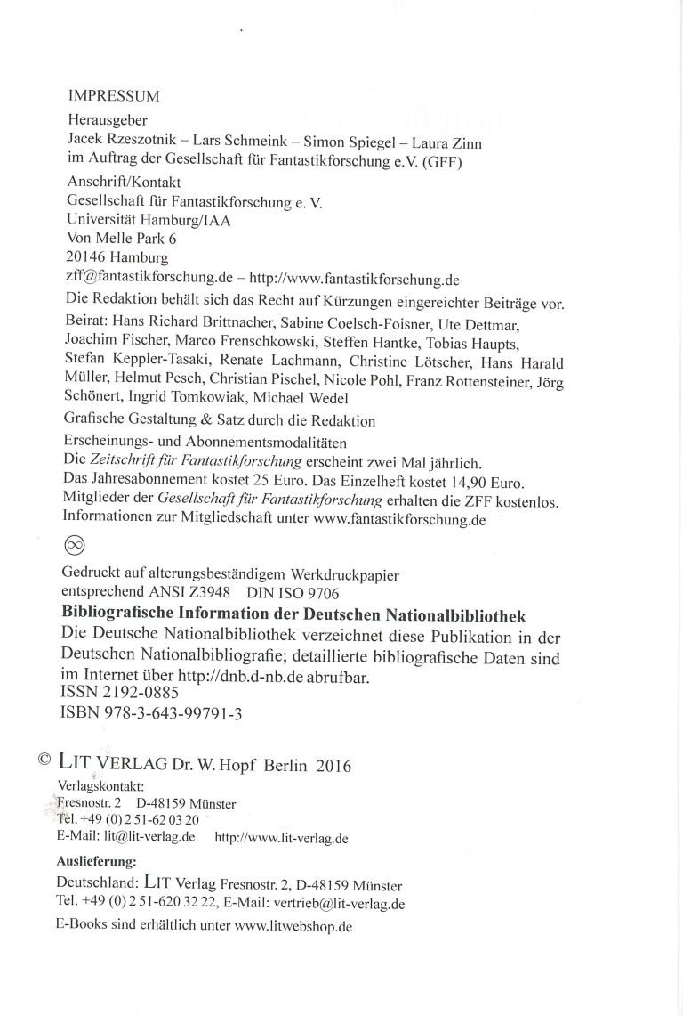 Zeitschrift für Fantastikforschung, 2/2016 - Impressum