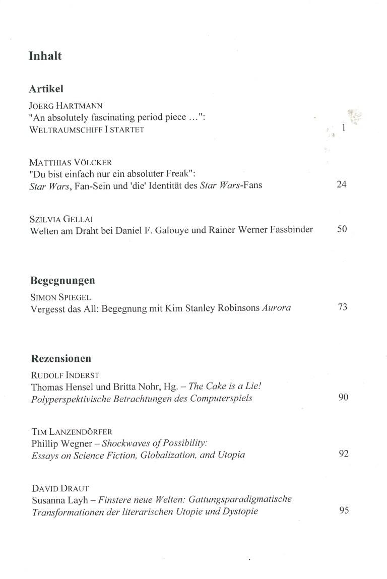 Zeitschrift für Fantastikforschung, 2/2016 - Inhalt Seite 1