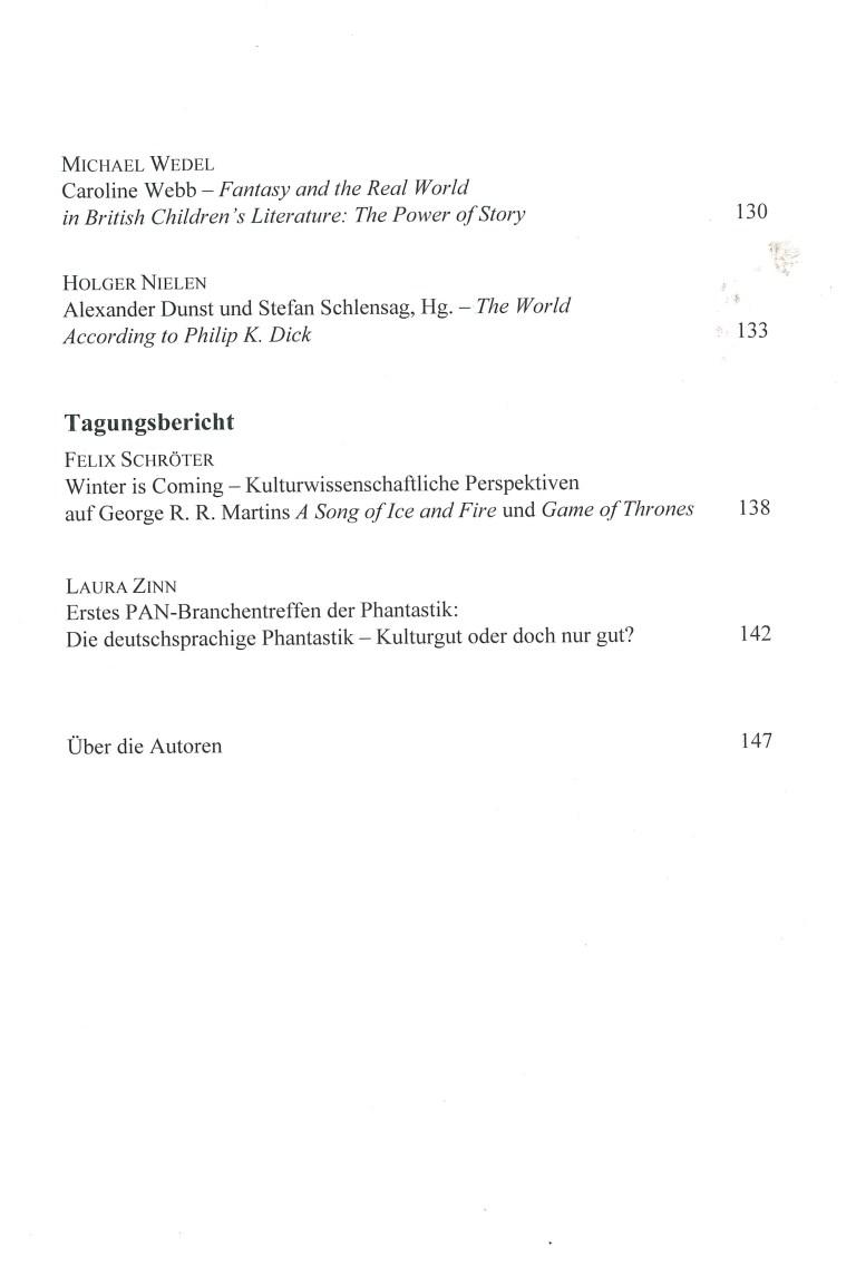 Zeitschrift für Fantastikforschung, 2/2016 - Inhalt Seite 3
