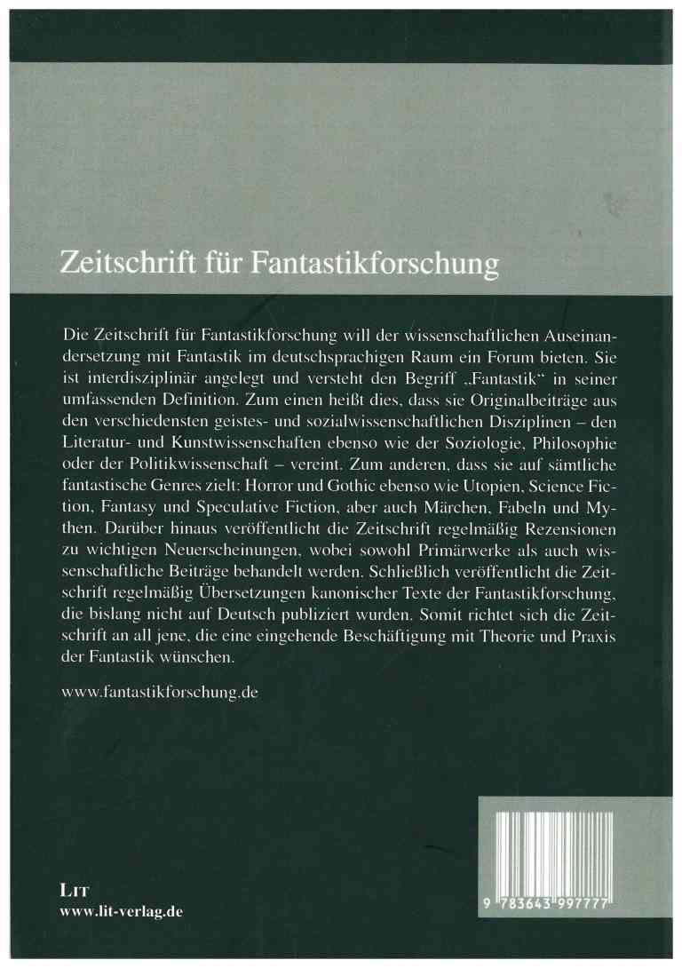 Zeitung für Fantstikforschung (ZFF), 2/2016 - Rückencover