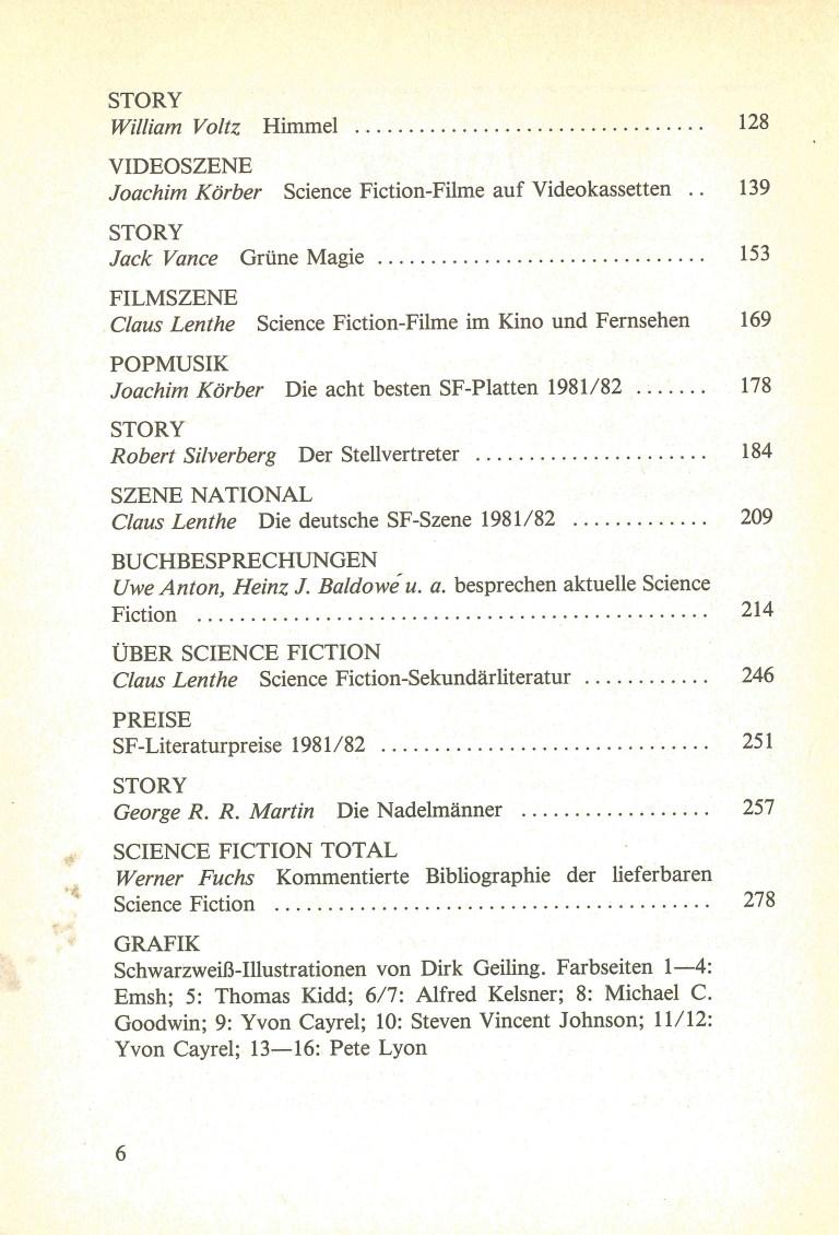 Science Fiction Jahrbuch 1983 - Inhalt Seite 2