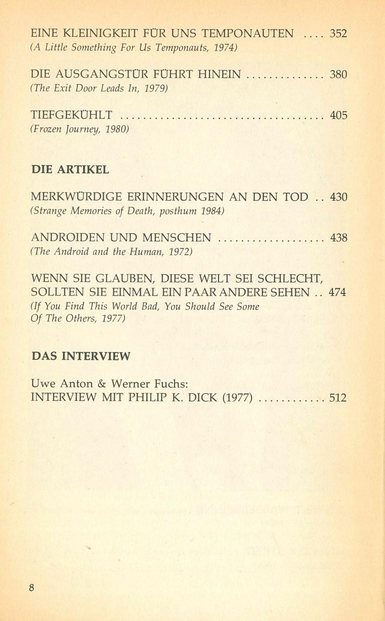 Kosmische Puppen und andere Lebensformen - Inhaltsverzeichnis Seite 2