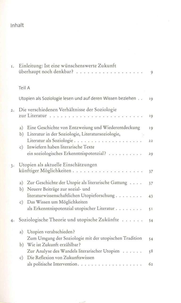 Utopie in utopiefernen Zeiten - Inhalt Seite 1