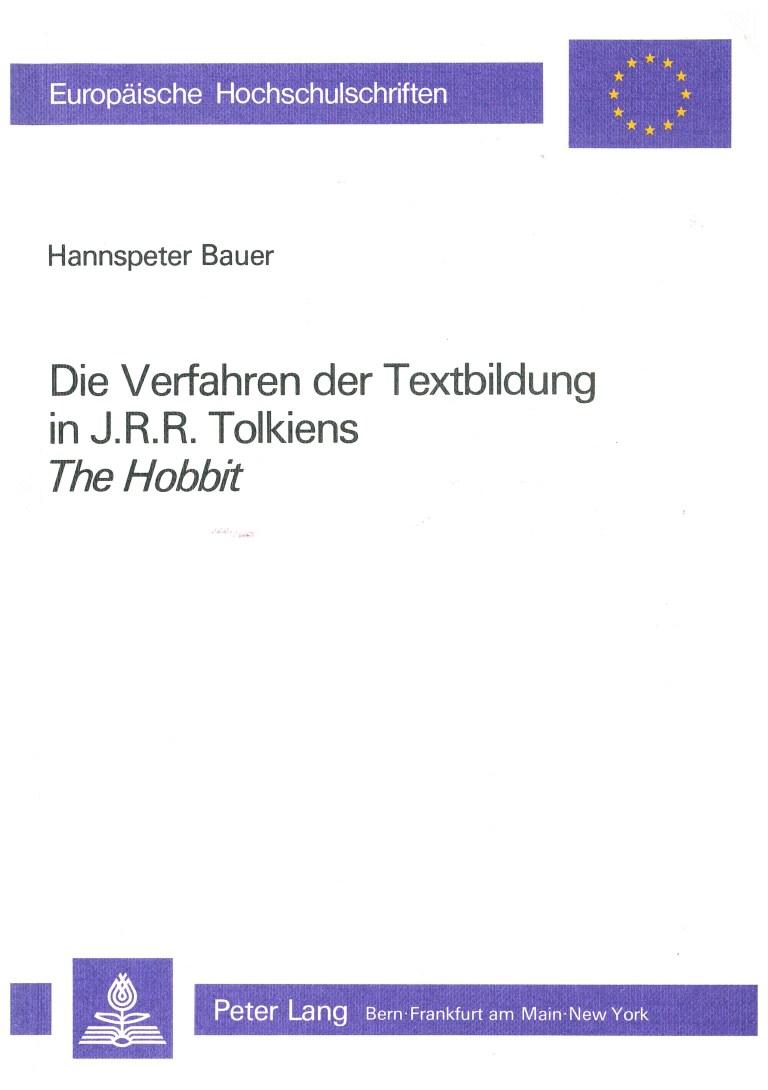 """Die Verfahren der Textbildung in J.R.R. Tolkiens """"The Hobbit"""" - Titelcover"""
