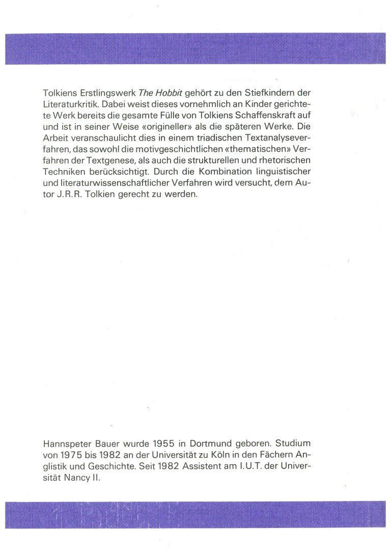 """Die Verfahren der Textbildung in J.R.R. Tolkiens """"The Hobbit"""" - Rückencover"""