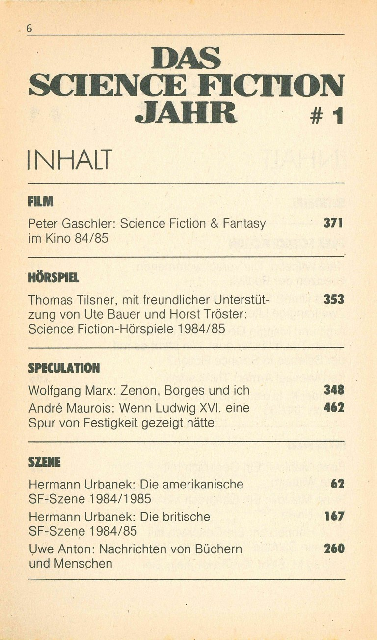 Das Science Fiction Jahr 1986 - Inhalt Seite 2