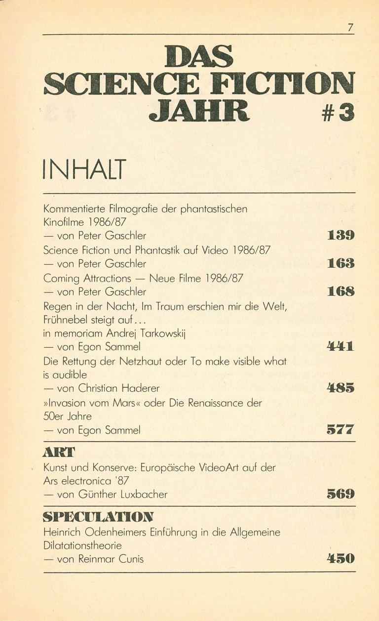 Science Fiction Jahr 1988 - Inhalt Seite 3