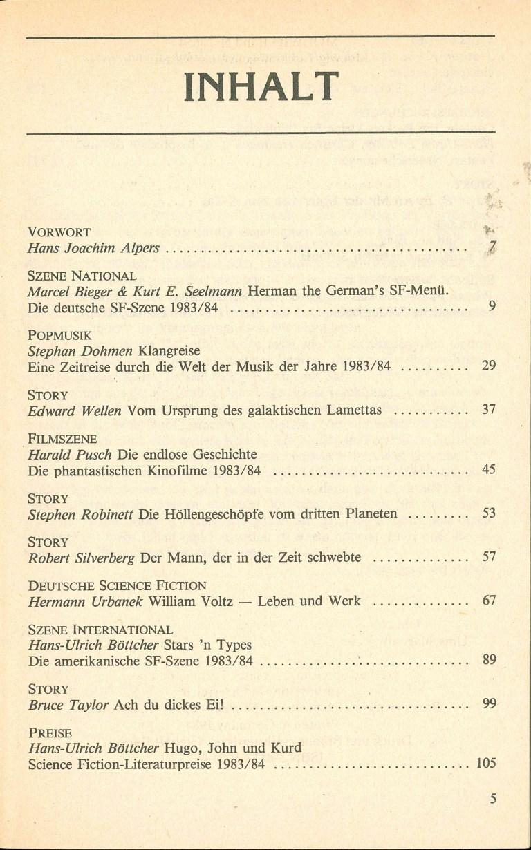 Science Fiction Jahrbuch 1985 - Inhalt Seite 1